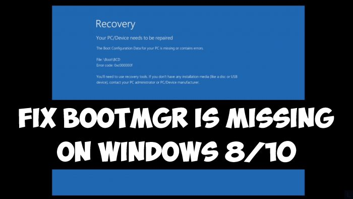 bootmgr is missing windows 7 fix with usb