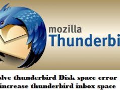 out of disk space error in thunderbird