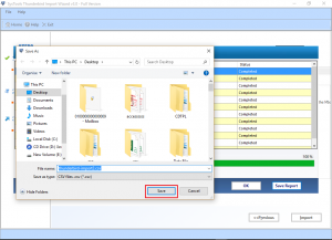 Save the report in CSV format in desired location