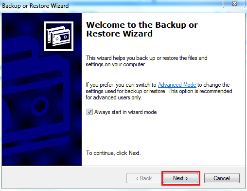 Welcome to Backup or Restore Wizard""