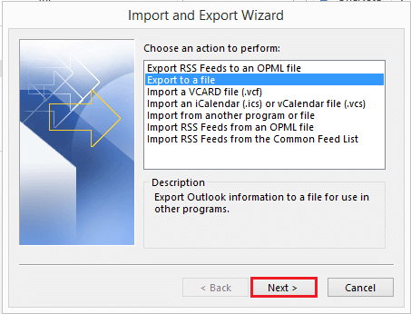 select export file option