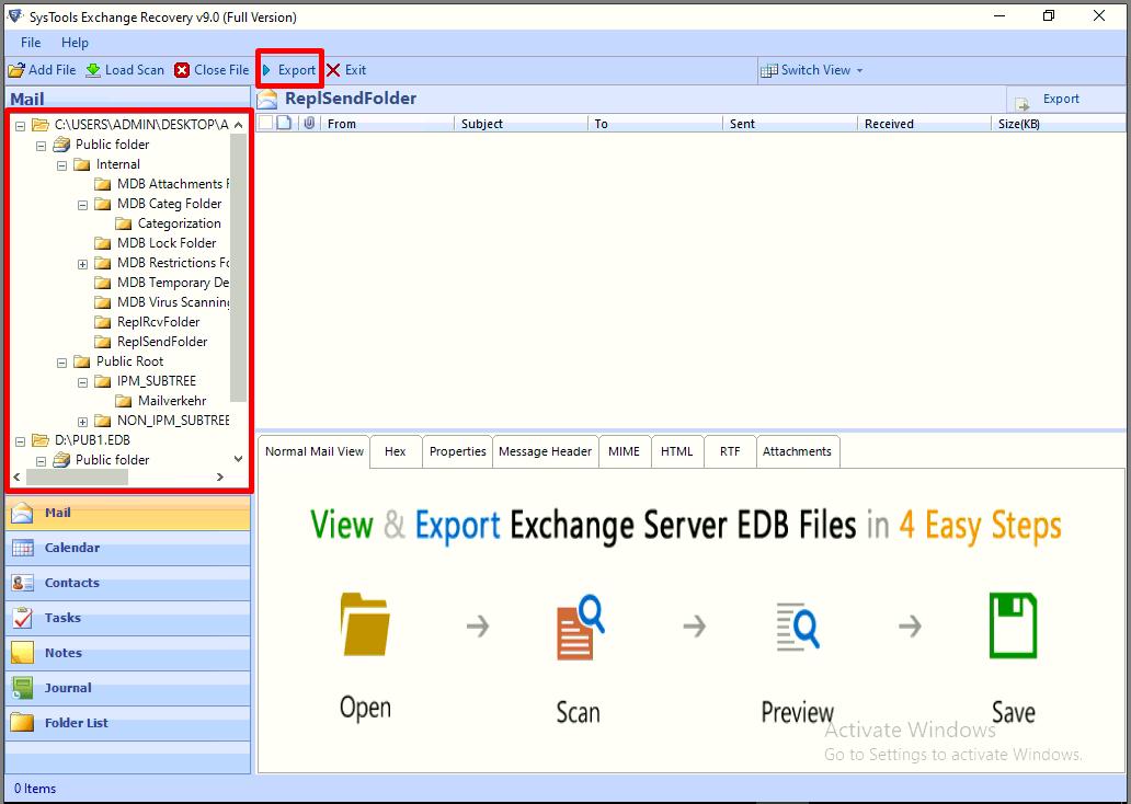 preview the offline pub edb file