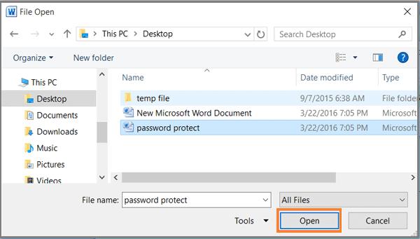 forgot password word document 2010