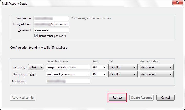 manually enter server settings to import  yahoo mail to Thunderbird