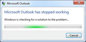 Outlook not responding error