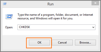 run check disk command to repair a Word file