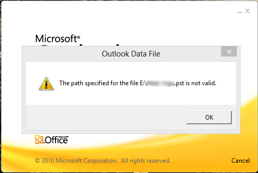 The Path Specified for the File .pst is Not Valid