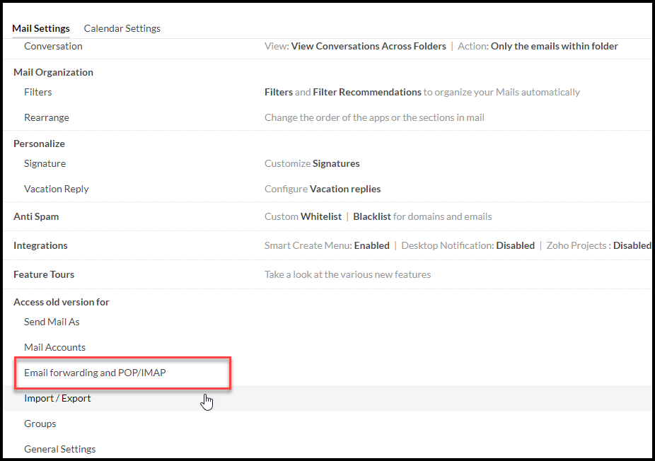 Email forwarding and POP/IMAP