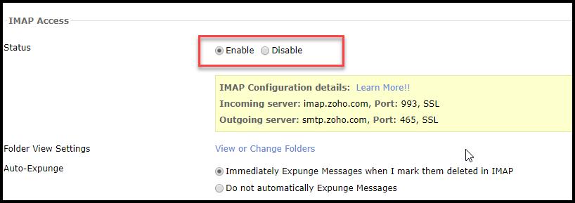 IMAP enabling
