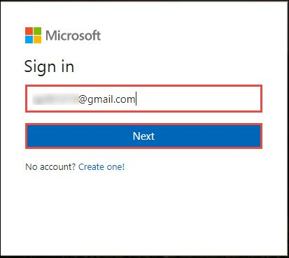 Provide OneDrive email ID and Password on Microsoft