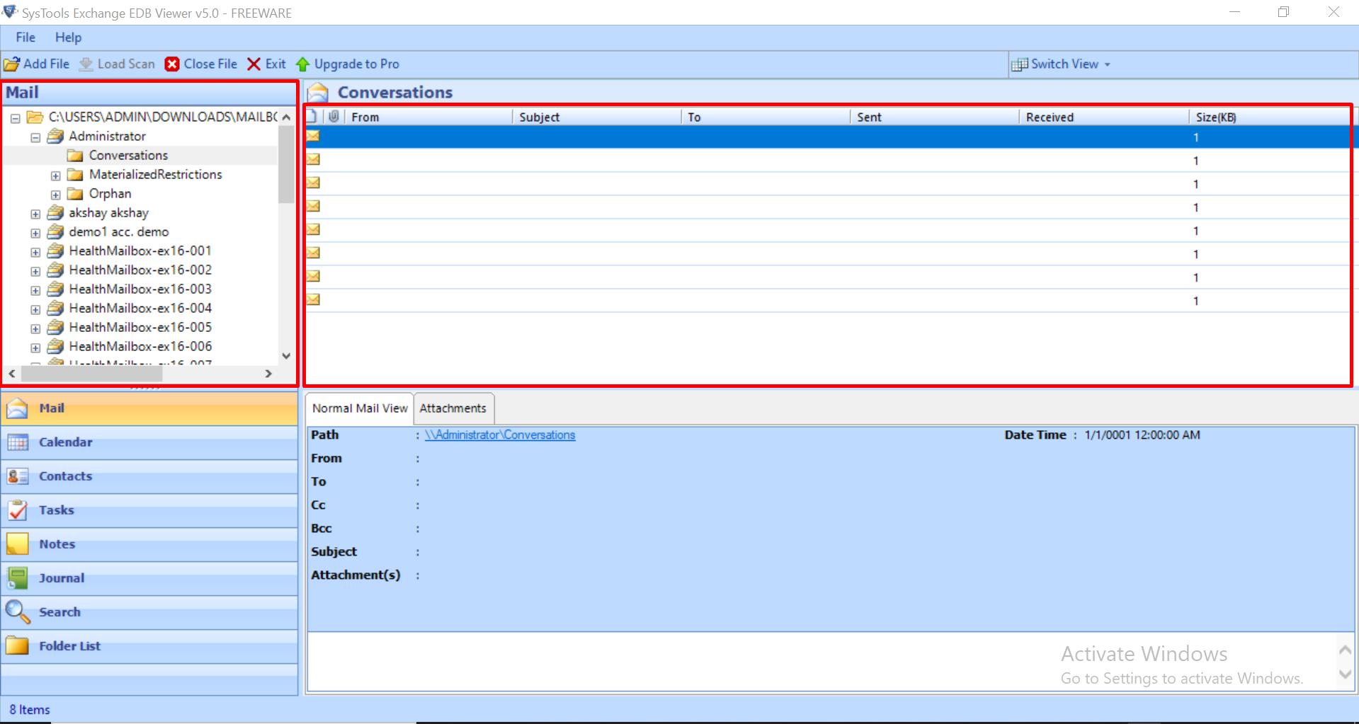 preview edb mailbox data items