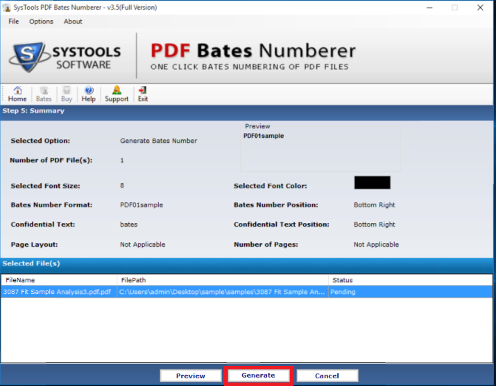 generate bates number on PDF files