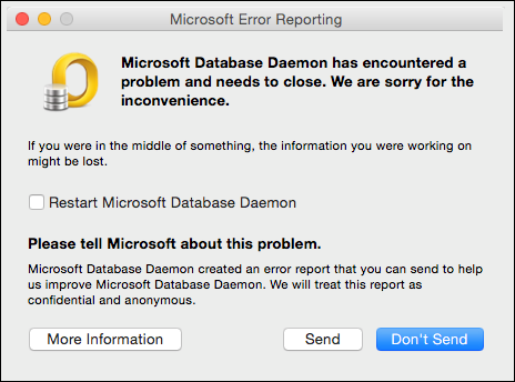 mac outlook database daemon error