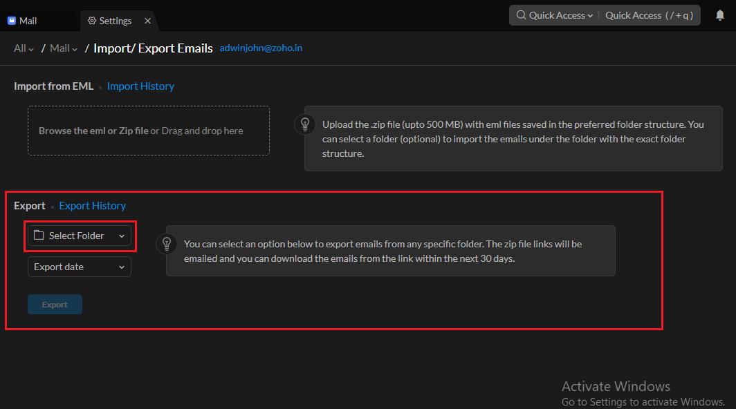 Select export folder
