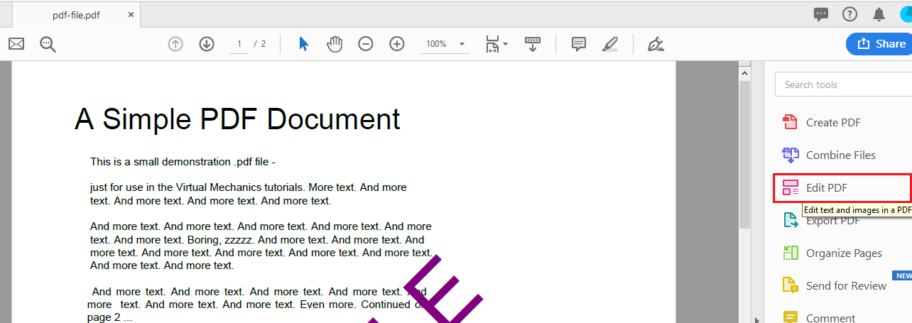 Edit PDF option in Adobe acrobat