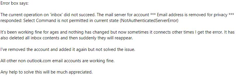 user query for thunderbird error