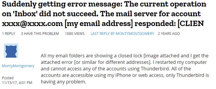 thunderbird error another user query