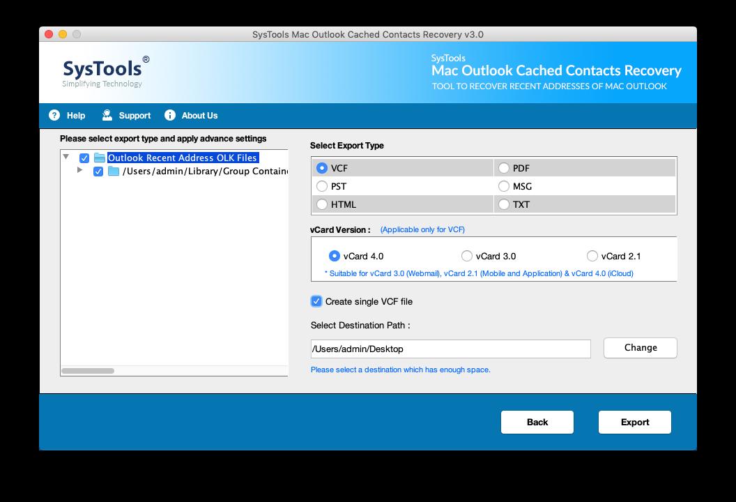 export Recent Addresses Outlook 2016 MAC