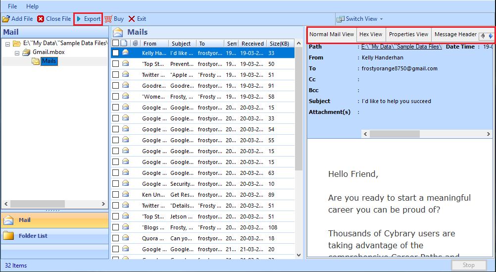 Vorschau von E-Mails