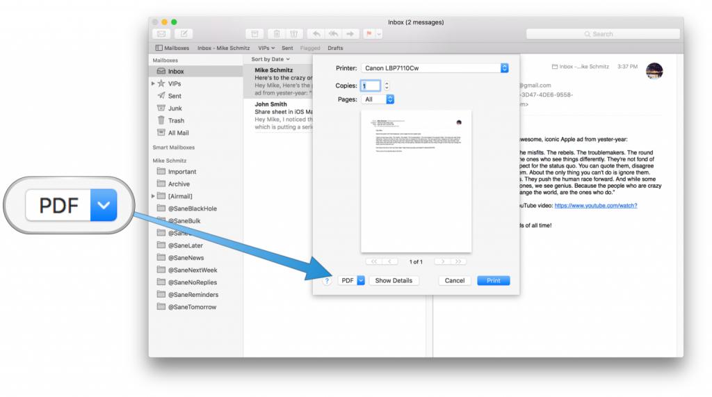 Apple Mail als PDF Exportieren - Mac-E-Mails als PDF Speichern