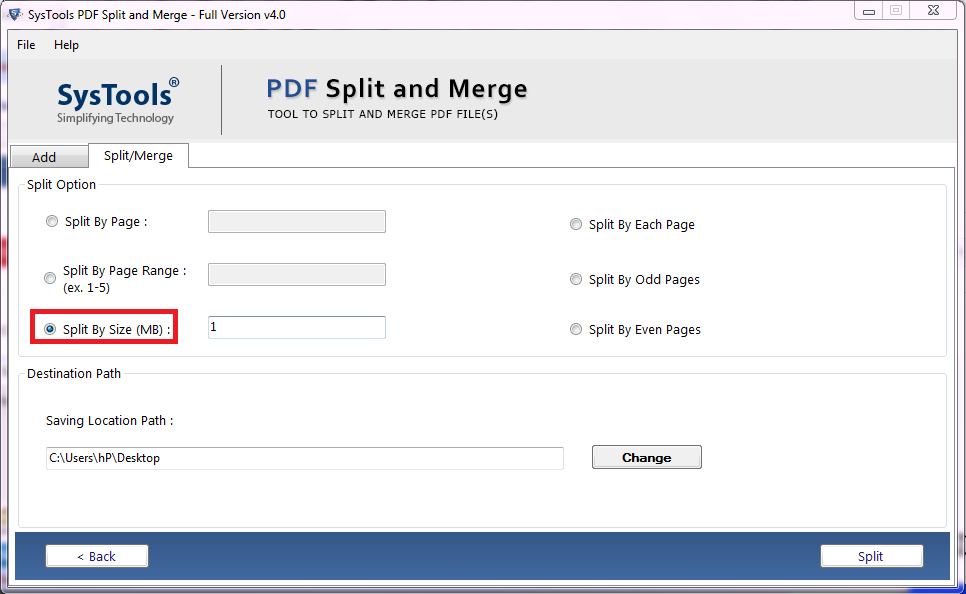 how to split PDF by file size