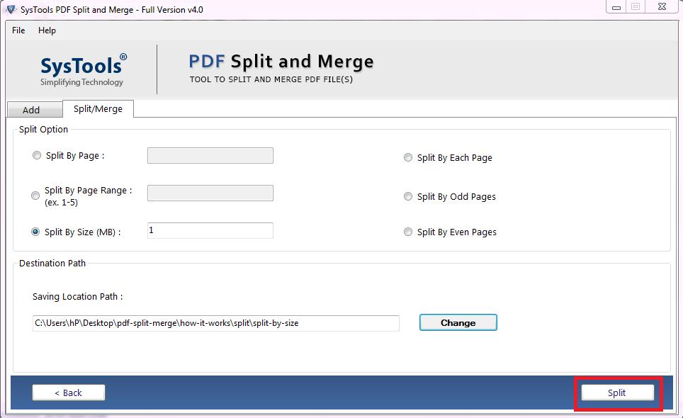 split PDF by size