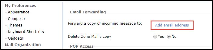 Zoho E-Mail-Weiterleitung