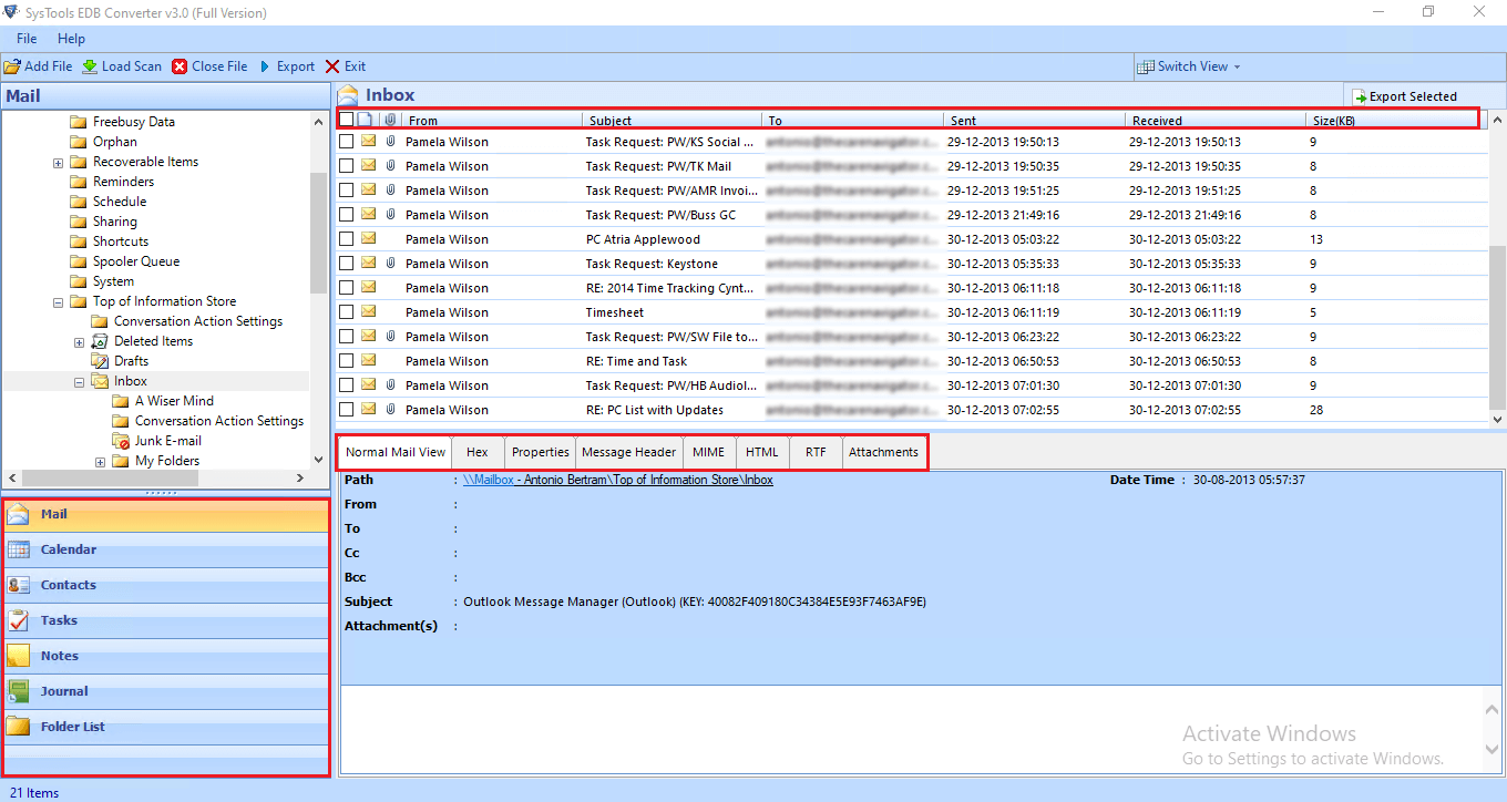 preview exchange shared mailbox data