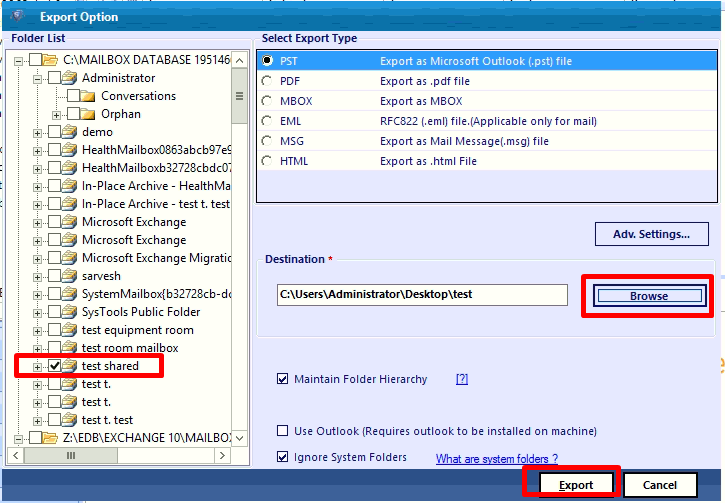 select the edb shared mailbox and export it