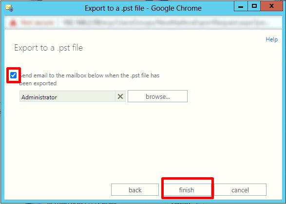 click finish button to export exchange shared mailbox
