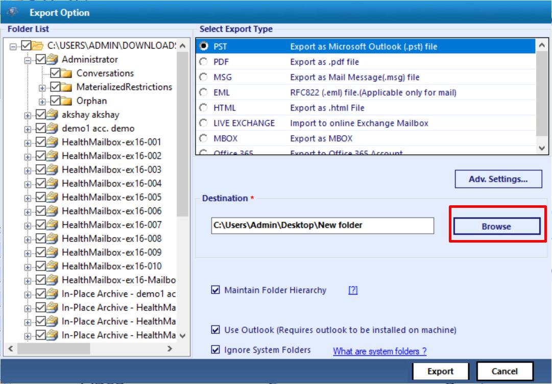 export exchange edb mailboxes
