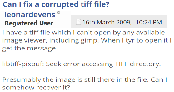 Recover Corrupted TIFF Files