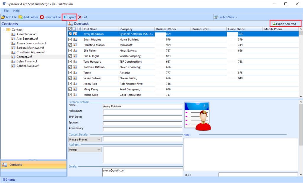 export selected vcard