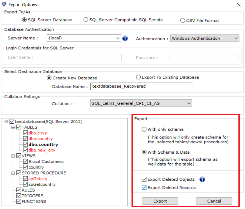 SQL Database repair tool