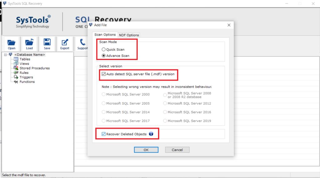 Recover SQL Database File